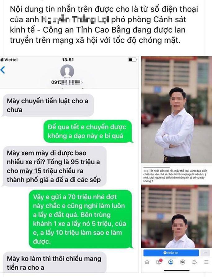 Xác minh thông tin Phó phòng Cảnh sát kinh tế Cao Bằng bị tố thu tiền bảo kê xe với số tiền lớn - Ảnh 1.