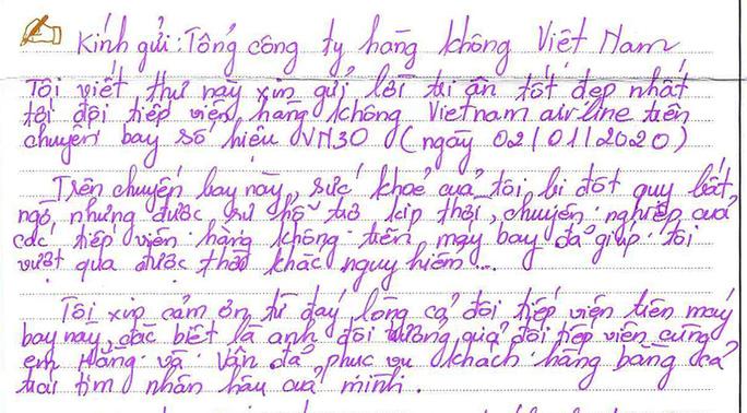 Bức thư của hành khách bị đột quỵ trên máy bay đi TP HCM - Ảnh 1.