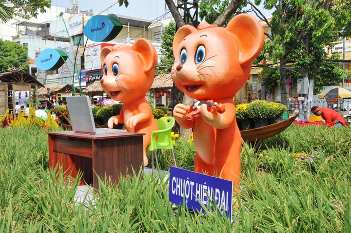 Ngắm những chú chuột làm nông dân ở đường hoa Xuân lớn nhất miền Tây - Ảnh 6.