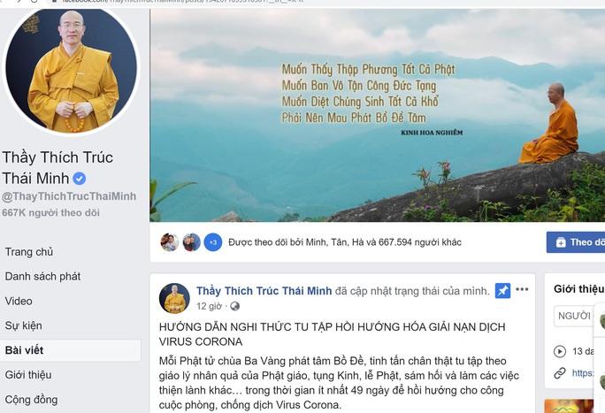 Facebook Thích Trúc Thái Minh tiếp tục rao giảng nghi thức tu tập hồi hướng hóa giải nạn dịch virus Corona - Ảnh 1.