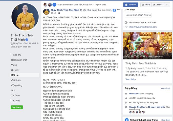 Facebook Thích Trúc Thái Minh tiếp tục rao giảng nghi thức tu tập hồi hướng hóa giải nạn dịch virus Corona - Ảnh 2.