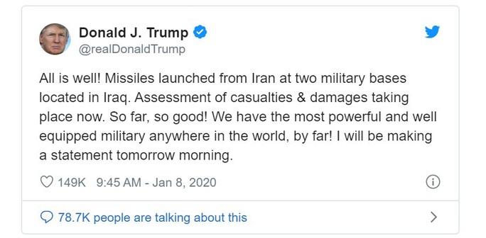 Tổng thống Donald Trump lên tiếng sau khi Iran tấn công căn cứ Mỹ - Ảnh 2.