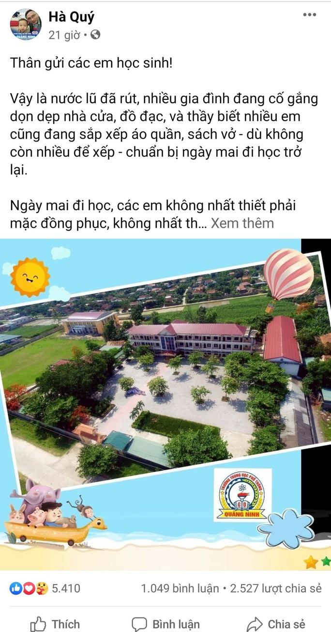 Bức tâm thư của hiệu trưởng gửi học trò vùng lũ Quảng Bình gây bão cộng đồng mạng - Ảnh 3.