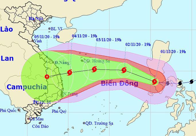 Bão Goni liên tục đổi hướng sau khi vào Biển Đông - Ảnh 1.