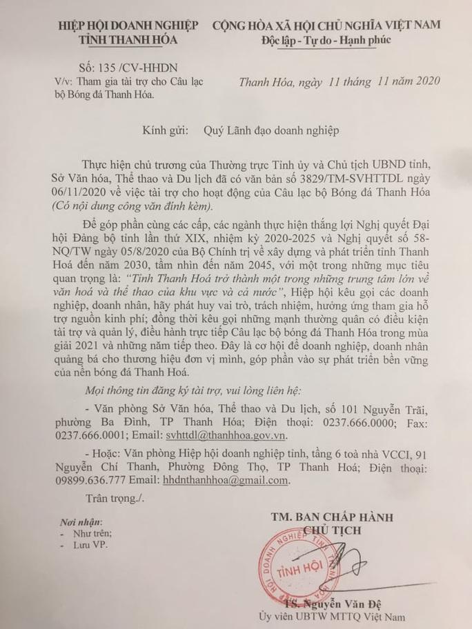 Bầu Đệ ra công văn tìm người thay mình điều hành CLB Bóng đá Thanh Hóa - Ảnh 2.