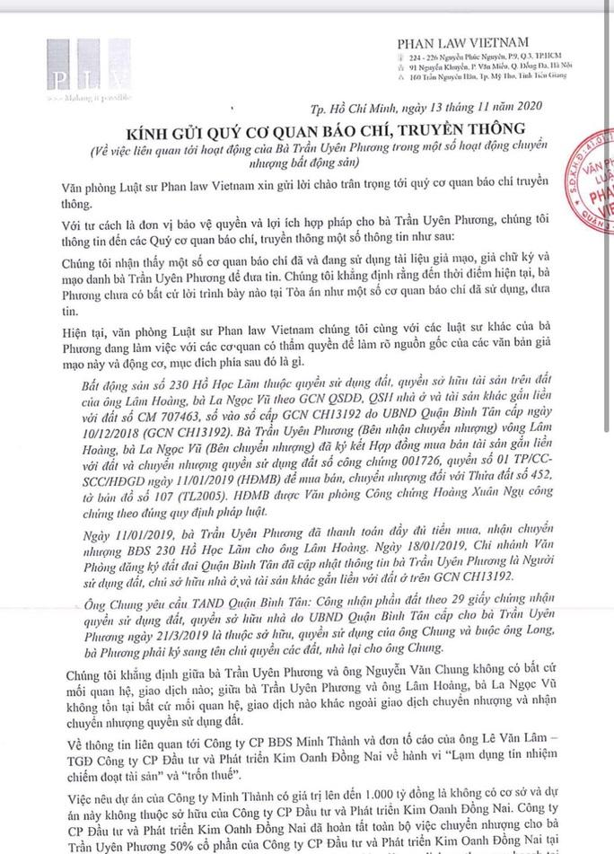 Luật sư của bà Trần Uyên Phương nói gì về vụ bị tố lừa đảo dự án 1.000 tỉ đồng? - Ảnh 1.