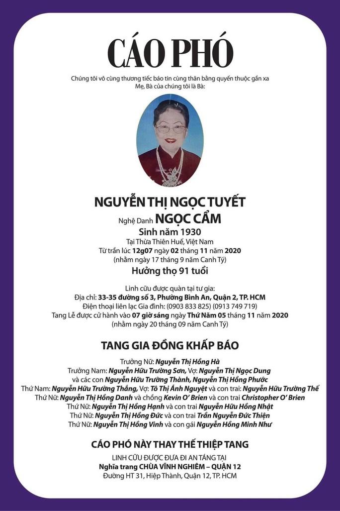Nữ danh ca Ngọc Cẩm qua đời, thọ 91 tuổi - Ảnh 2.
