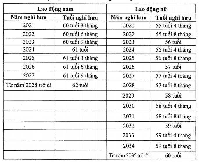 Chi tiết lộ trình tăng tuổi nghỉ hưu với người lao động từ 2021 - Ảnh 1.