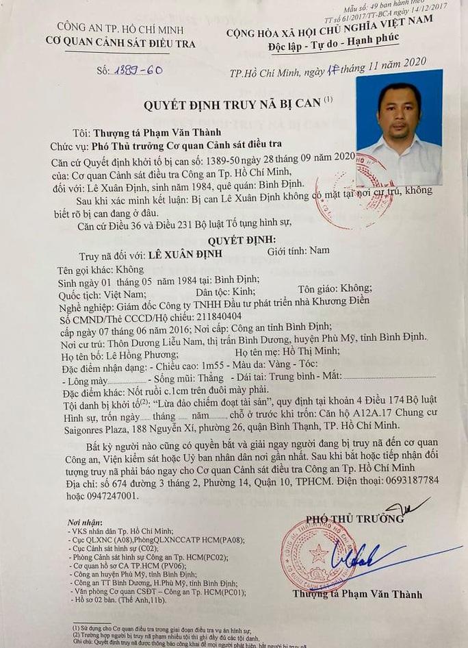 Truy nã Lê Xuân Định, Giám đốc Công ty nhà Khương Điền - Ảnh 1.