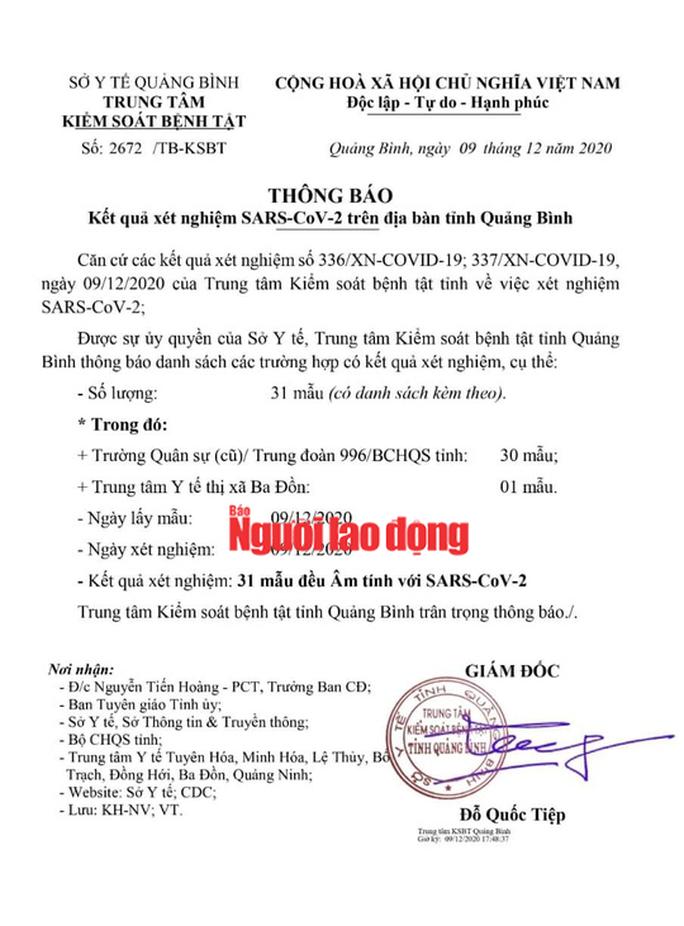 Bệnh nhân tái dương tính từ TP HCM về Quảng Bình: Kết quả xét nghiệm 31 trường hợp F1 - Ảnh 2.
