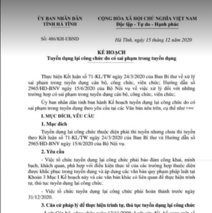 Sai phạm trong tuyển dụng, 308 công chức ở Hà Tĩnh phải thi tuyển lại - Ảnh 1.
