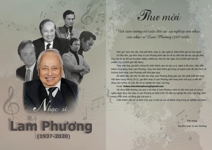 Thông tin lễ cầu siêu cho nhạc sĩ Lam Phương - Ảnh 2.