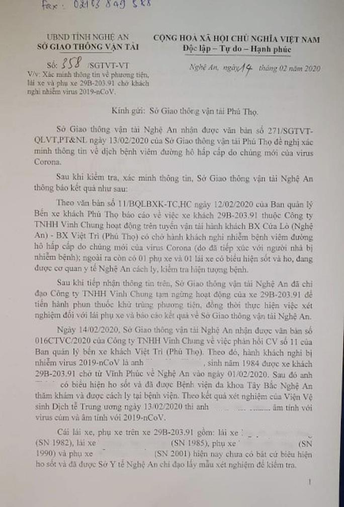 Lấy mẫu xét nghiệm Covid-19 của lái, phụ xe chở khách từ Vĩnh Phúc về Nghệ An - Ảnh 1.