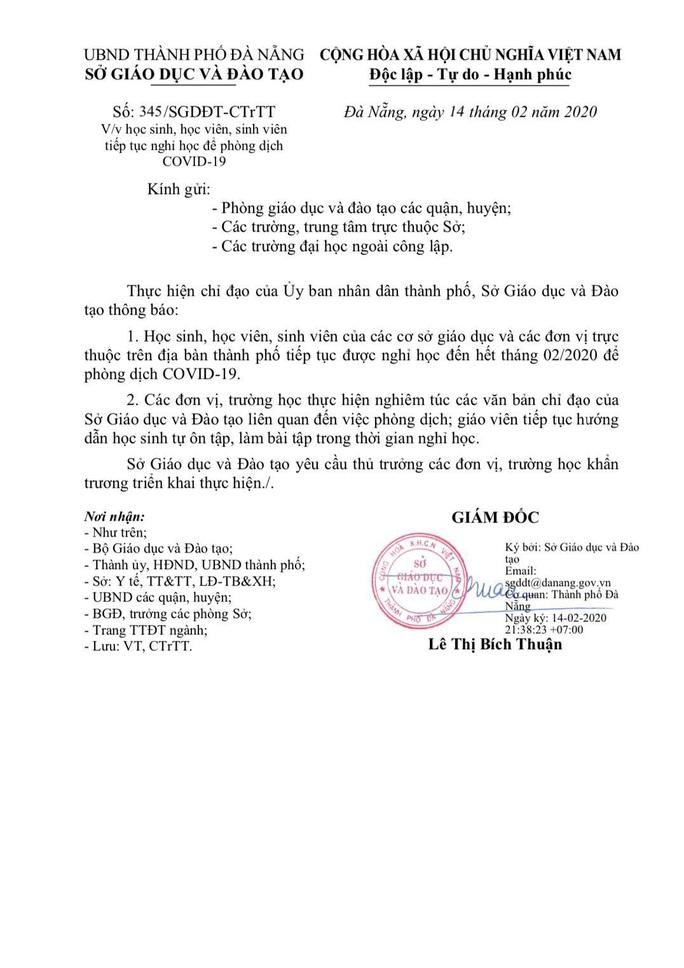 Đà Nẵng ra công văn khẩn cho học sinh nghỉ học đến hết tháng 2  - Ảnh 1.