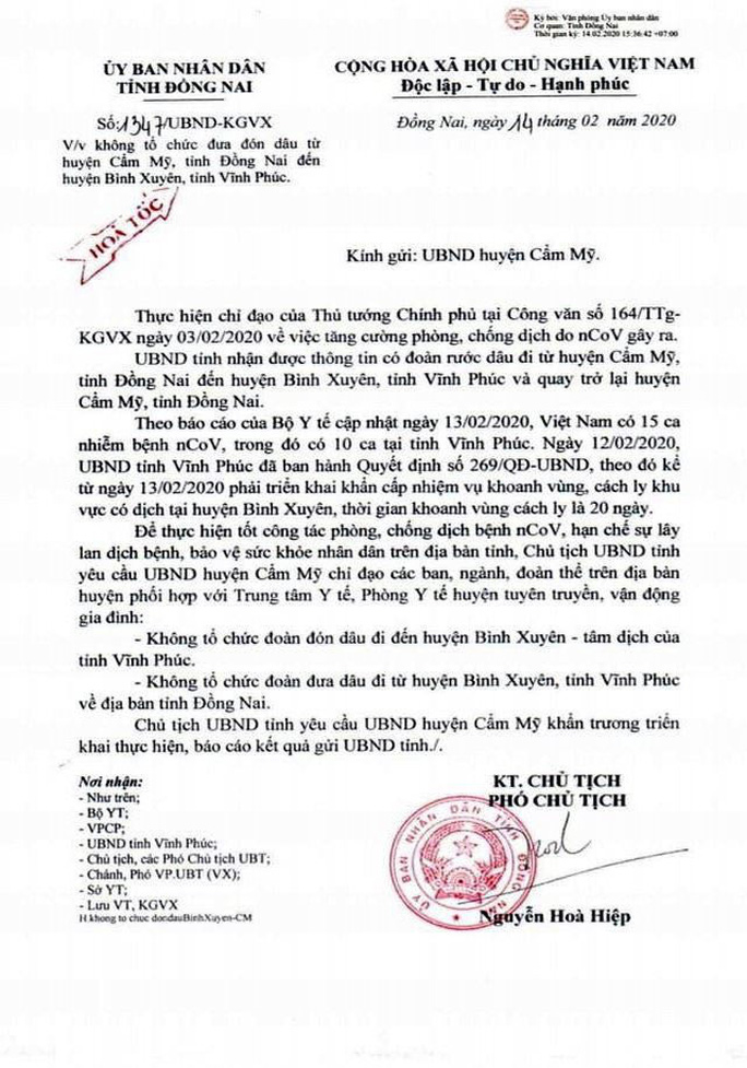 Một đám cưới ở Đồng Nai không tổ chức ra Vĩnh Phúc đón dâu để phòng chống dịch - Ảnh 1.
