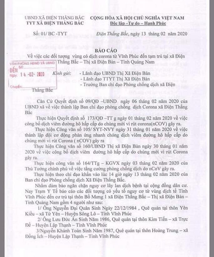 Quảng Nam: Đề nghị cách ly 4 người đến từ Vĩnh Phúc  - Ảnh 2.