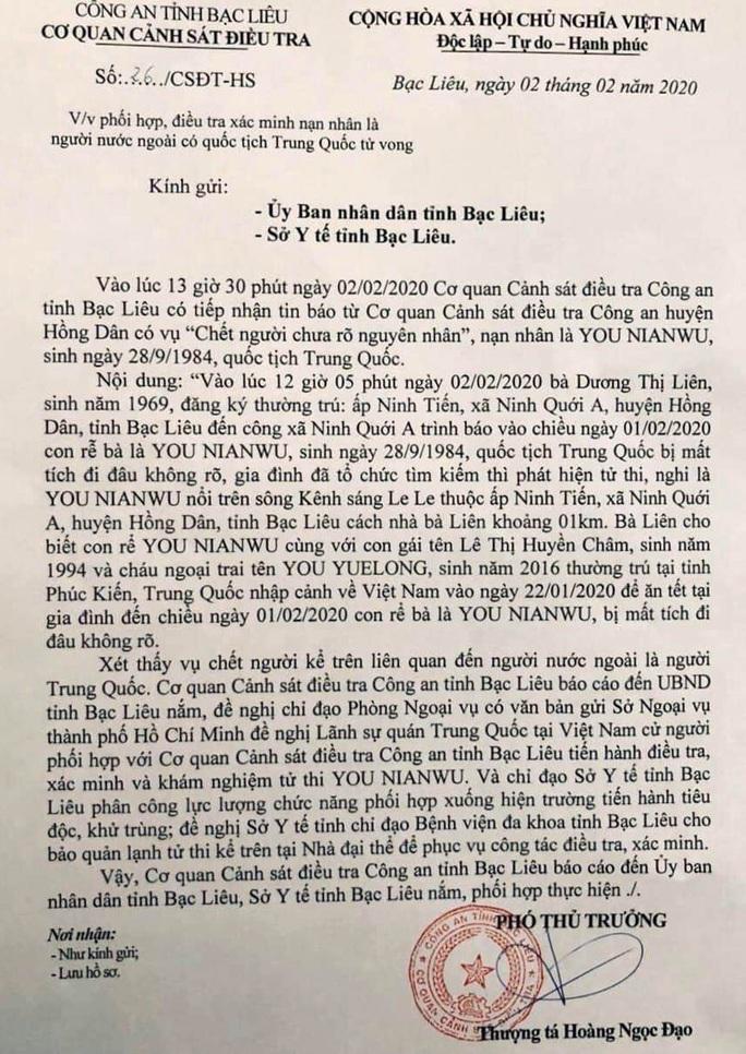 Phát hiện thi thể người đàn ông Trung Quốc chết ở Bạc Liêu - Ảnh 1.