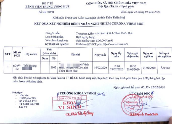 Thừa Thiên – Huế công bố kết quả xét nghiệm Covid-19 đối với nữ sinh tử vong - Ảnh 1.