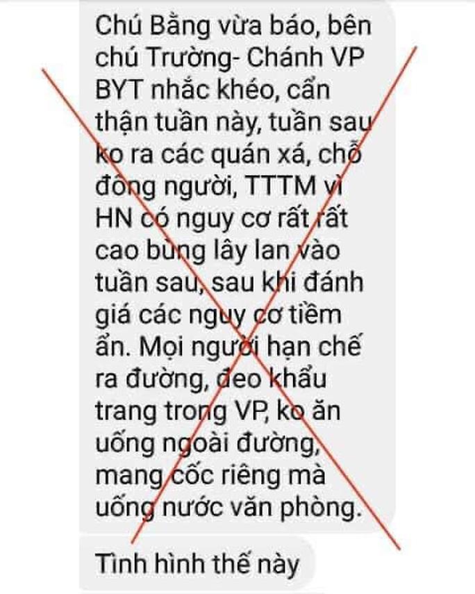 Thông tin Chánh Văn phòng Bộ Y tế cảnh báo về dịch Covid-19 ở Hà Nội là tin giả - Ảnh 1.