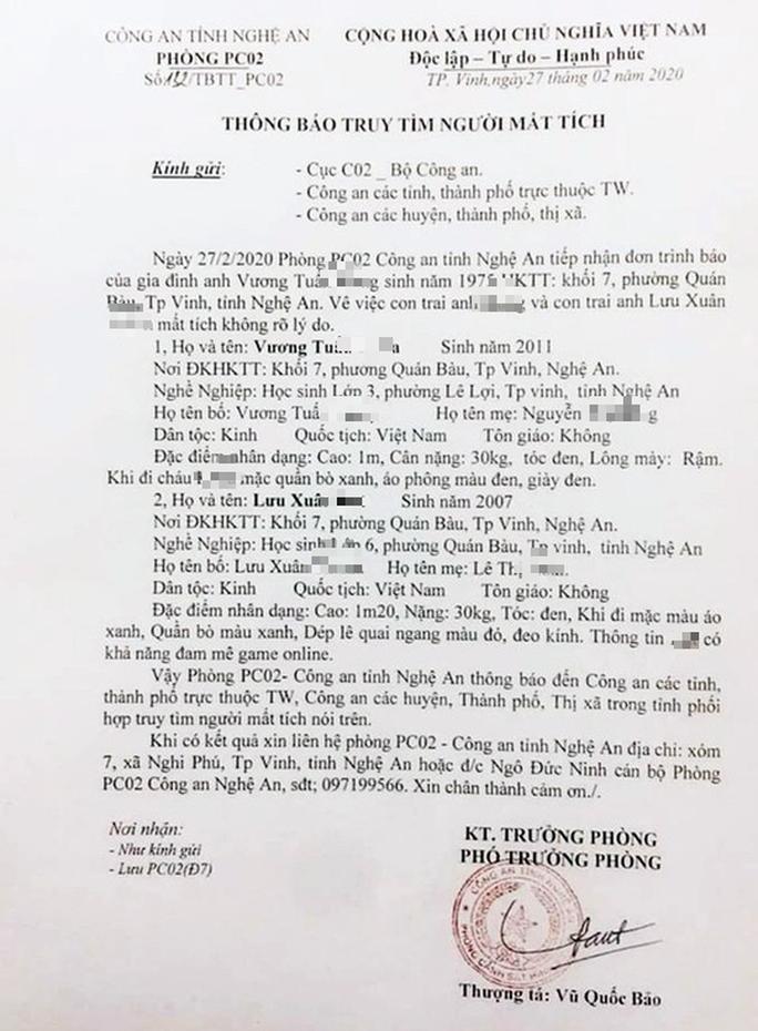 Hai cháu bé Công an Nghệ An phát thông báo mất tích được tìm thấy ở Huế - Ảnh 2.