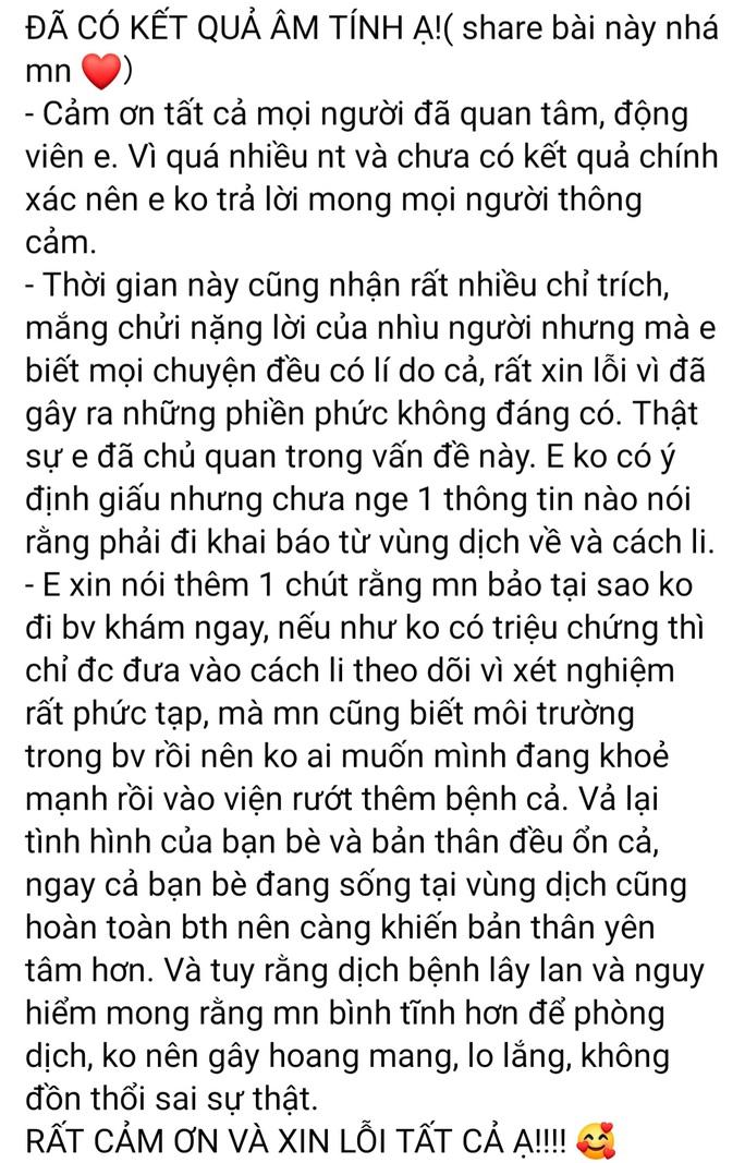 Cô gái Quảng Nam trở về từ Vũ Hán xin lỗi sau khi bị nhiều người mắng chửi - Ảnh 2.