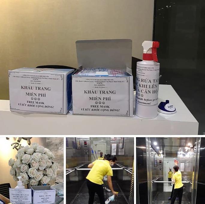 Nhiều chung cư TP HCM phát khẩu trang, nước rửa tay miễn phí - Ảnh 1.