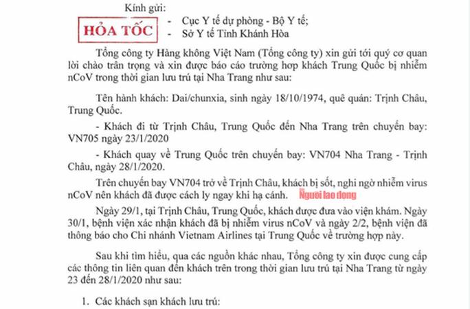 Khánh Hòa: Khẩn trương rà soát những người liên quan đến 1 du khách Trung Quốc nhiễm nCoV - Ảnh 2.