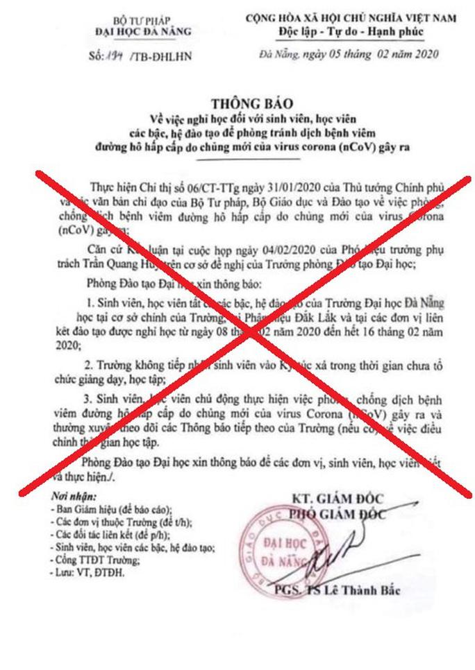 Giả mạo văn bản của ĐH Đà Nẵng để cho sinh viên nghỉ thêm 1 tuần - Ảnh 1.