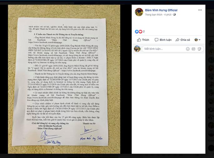 Đàm Vĩnh Hưng thừa nhận đã thiếu trách nhiệm khi thông tin về dịch nCoV - Ảnh 2.