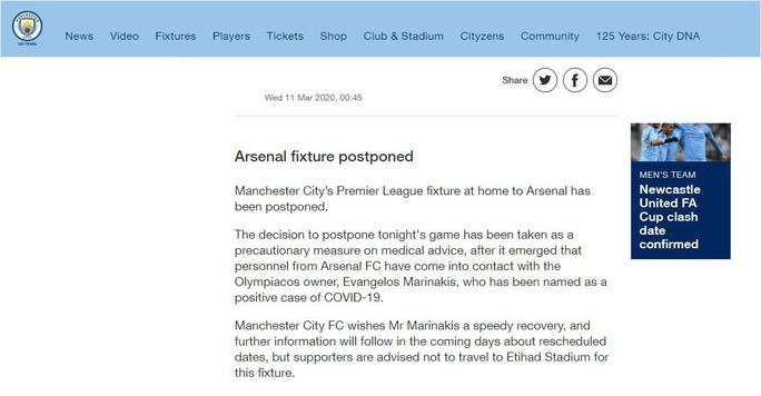 Hoãn trận đại chiến Man City - Arsenal vì Covid-19 - Ảnh 2.