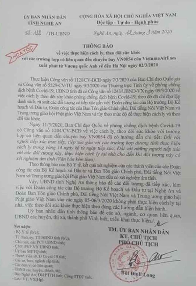 24 lãnh đạo, cán bộ Nghệ An tiếp xúc gần Bộ trưởng Nguyễn Chí Dũng không còn cách ly - Ảnh 1.