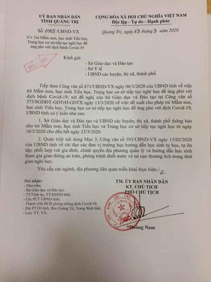 Quảng Trị tiếp tục cho học sinh nghỉ học đến hết ngày 23-3 - Ảnh 1.