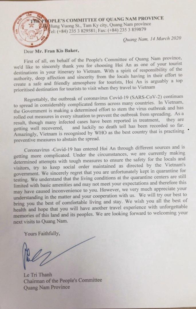 Chủ tịch Quảng Nam gửi thư chia sẻ với 53 vị khách nước ngoài bị cách ly - Ảnh 2.