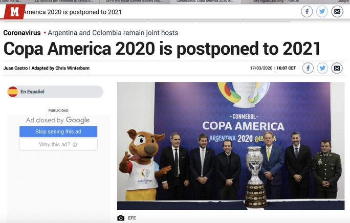Truyền thông thế giới sốt vì EURO lẫn Copa America 2020 cùng bị hoãn - Ảnh 9.