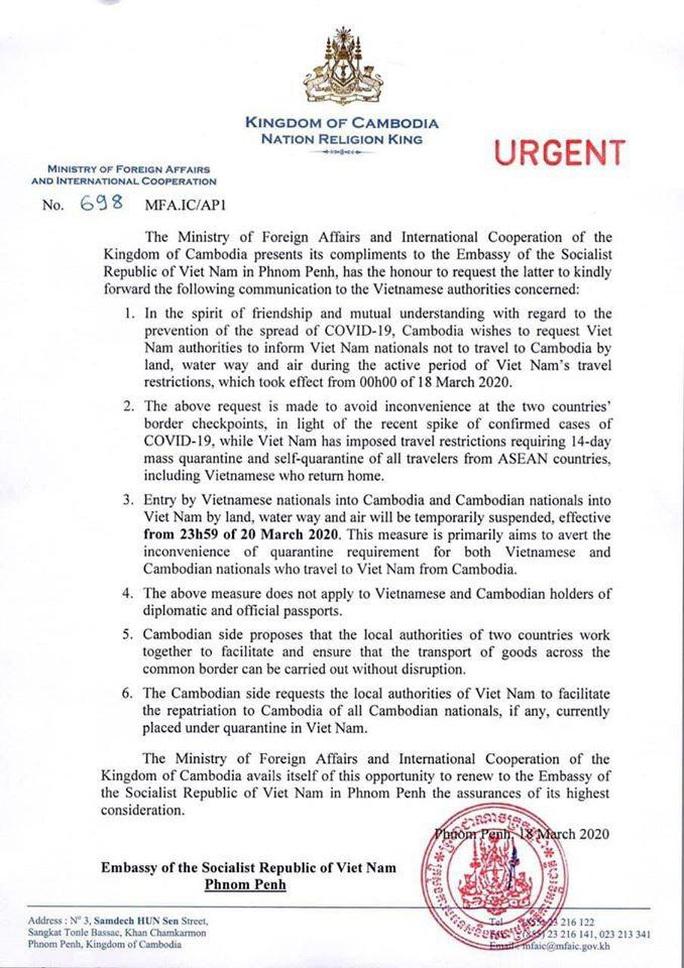 Campuchia tạm dừng nhập cảnh đối với công dân Việt Nam vì Covid-19 - Ảnh 2.