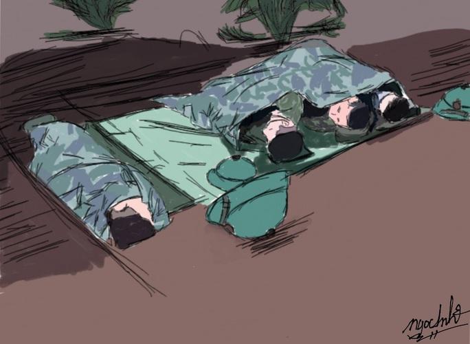 Ngắm bộ tranh Những anh hùng thầm lặng ngày đêm chống dịch Covid-19 - Ảnh 4.
