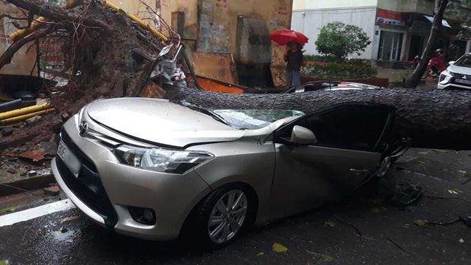 CLIP: Mưa như trút, Hà Nội ngập nhiều nơi, cây đổ đè bẹp xế hộp - Ảnh 3.