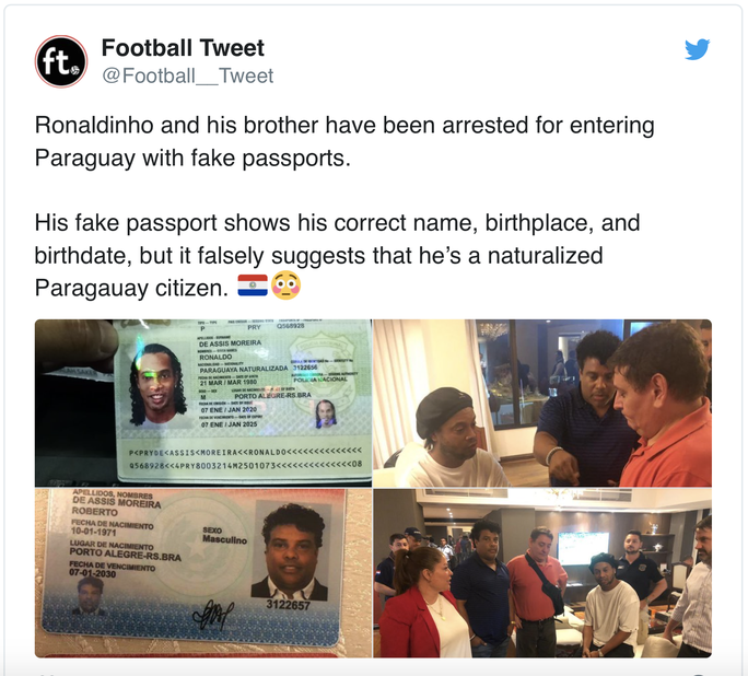 Ronaldinho bị bắt ở Paraguay vì dùng hộ chiếu giả  - Ảnh 4.
