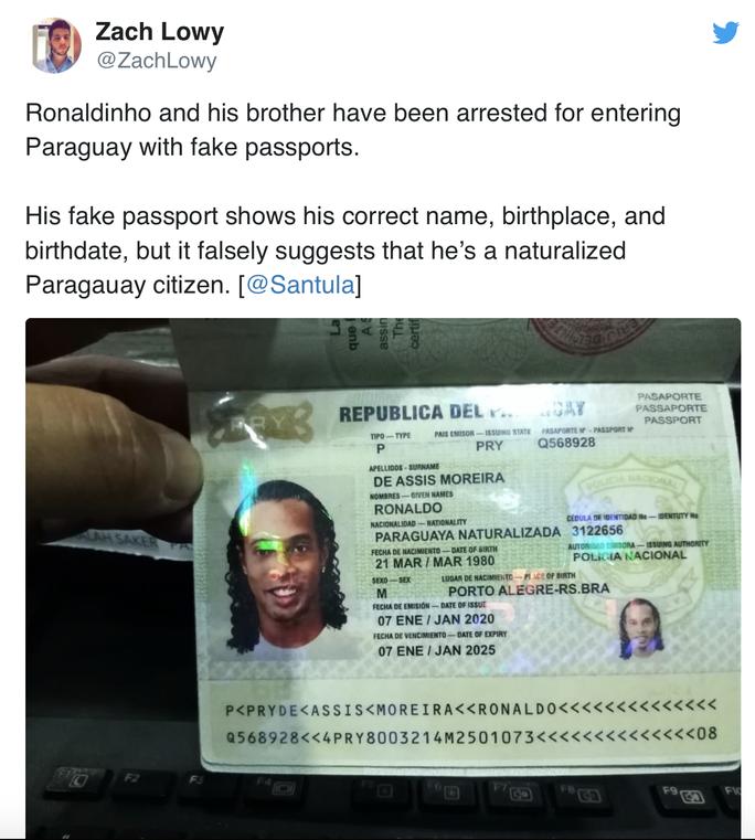 Ronaldinho bị bắt ở Paraguay vì dùng hộ chiếu giả  - Ảnh 1.