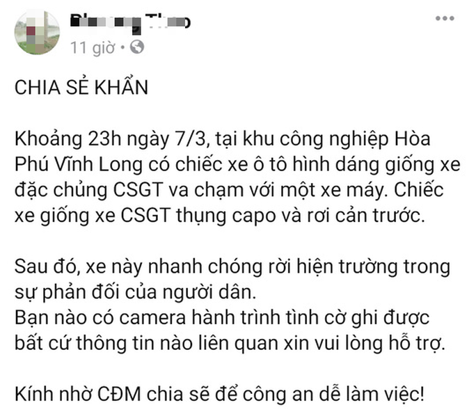 CSGT Vĩnh Long lên tiếng khi bị tố gây tai nạn rồi bỏ trốn - Ảnh 1.