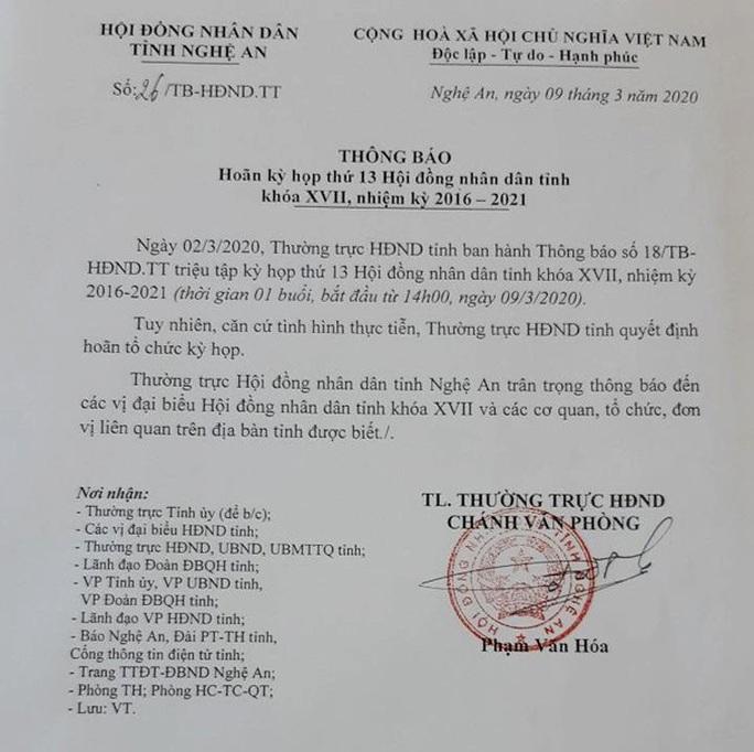 Dịch Covid-19 diễn biến phức tạp, Nghệ An hoãn kỳ họp bất thường HĐND tỉnh - Ảnh 1.