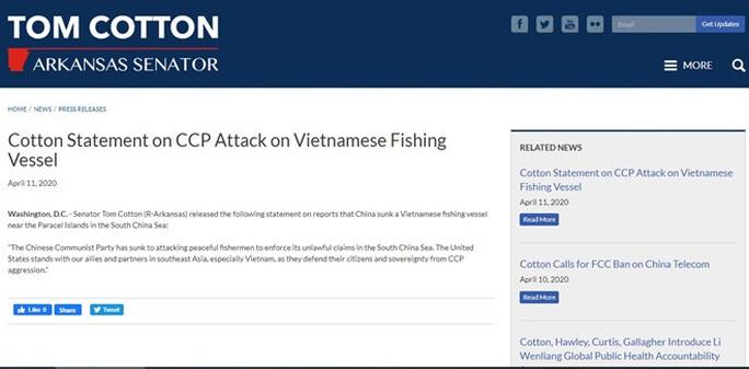 Thượng nghị sĩ Mỹ lên án tàu hải cảnh Trung Quốc đâm chìm tàu cá Việt Nam  - Ảnh 1.