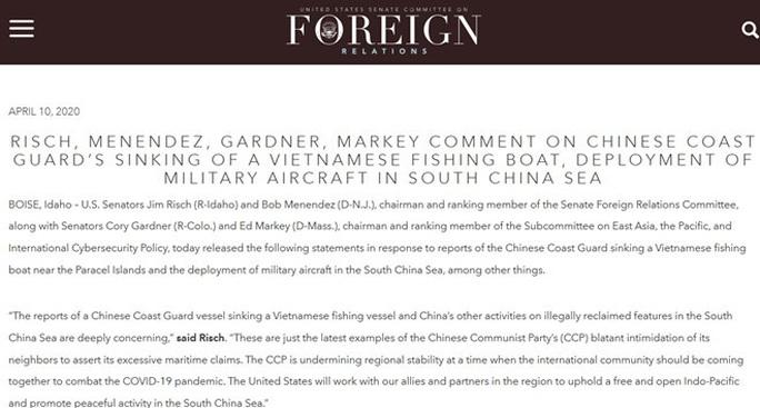 Thượng nghị sĩ Mỹ lên án tàu hải cảnh Trung Quốc đâm chìm tàu cá Việt Nam  - Ảnh 2.