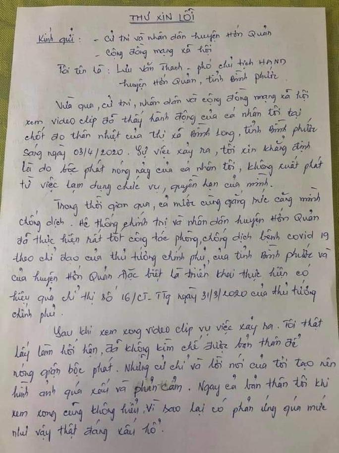Phó Chủ tịch HĐND chống đối đo thân nhiệt gửi thư xin lỗi, nộp đơn từ chức - Ảnh 1.