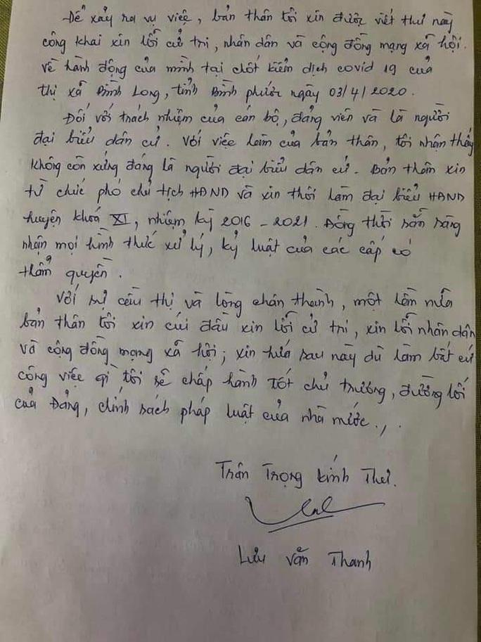 Phó Chủ tịch HĐND chống đối đo thân nhiệt gửi thư xin lỗi, nộp đơn từ chức - Ảnh 2.