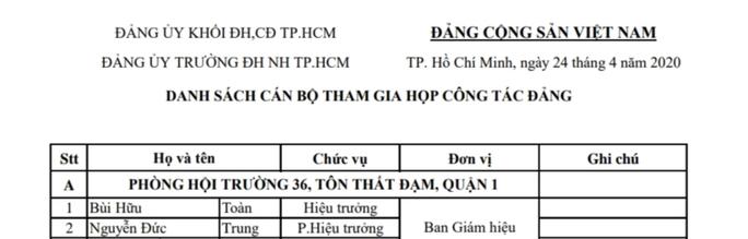 Yêu cầu Đảng uỷ Trường ĐH Ngân hàng TP HCM dừng họp cán bộ chủ chốt - Ảnh 1.