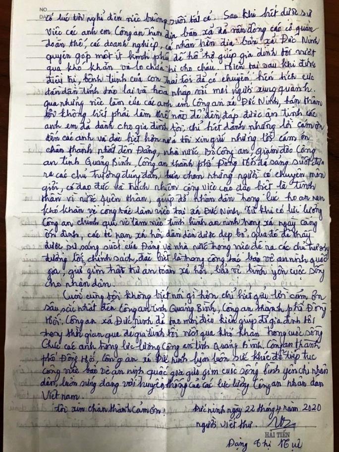 Nội dung cuối bức thư, bà Huệ chân thành cảm ơn ngành công an đã hỗ trợ, chia sẻ với gia đình