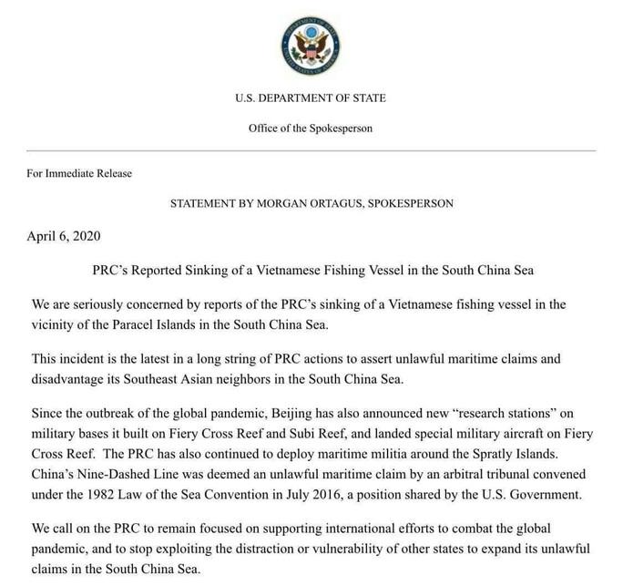 Mỹ lên án vụ tàu hải cảnh Trung Quốc đâm chìm tàu cá Việt Nam - Ảnh 2.