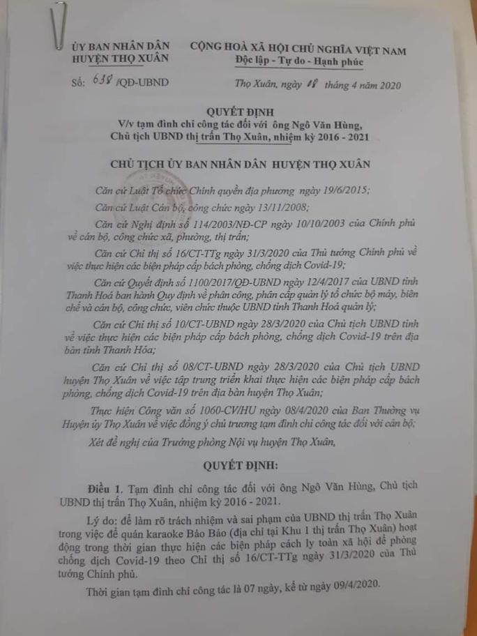 Chủ tịch UBND thị trấn bị đình chỉ công tác do để quán karaoke hoạt động trong dịch Covid-19 - Ảnh 2.