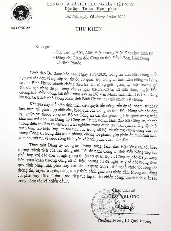 Vụ án bí thư xã giết người, giả chết: Bộ Công an khen công an 3 tỉnh - Ảnh 2.
